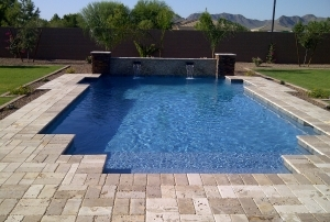 Finest Finish Sparkle Quartz Laguna pool with squared corners