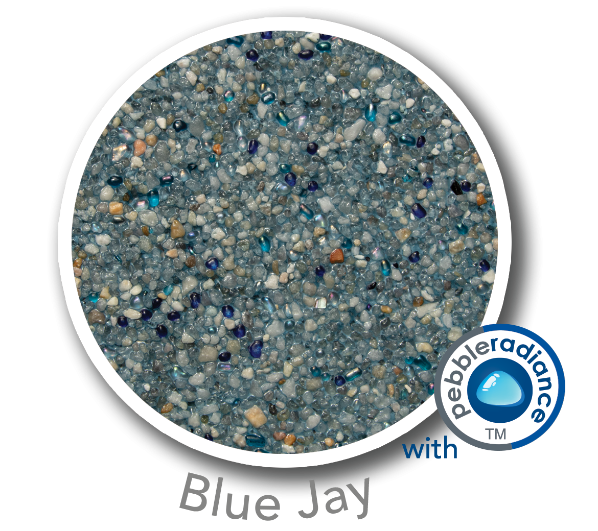 Round sample of Finest Finish Mini Pebble with Pebble Radiance Blue Jay