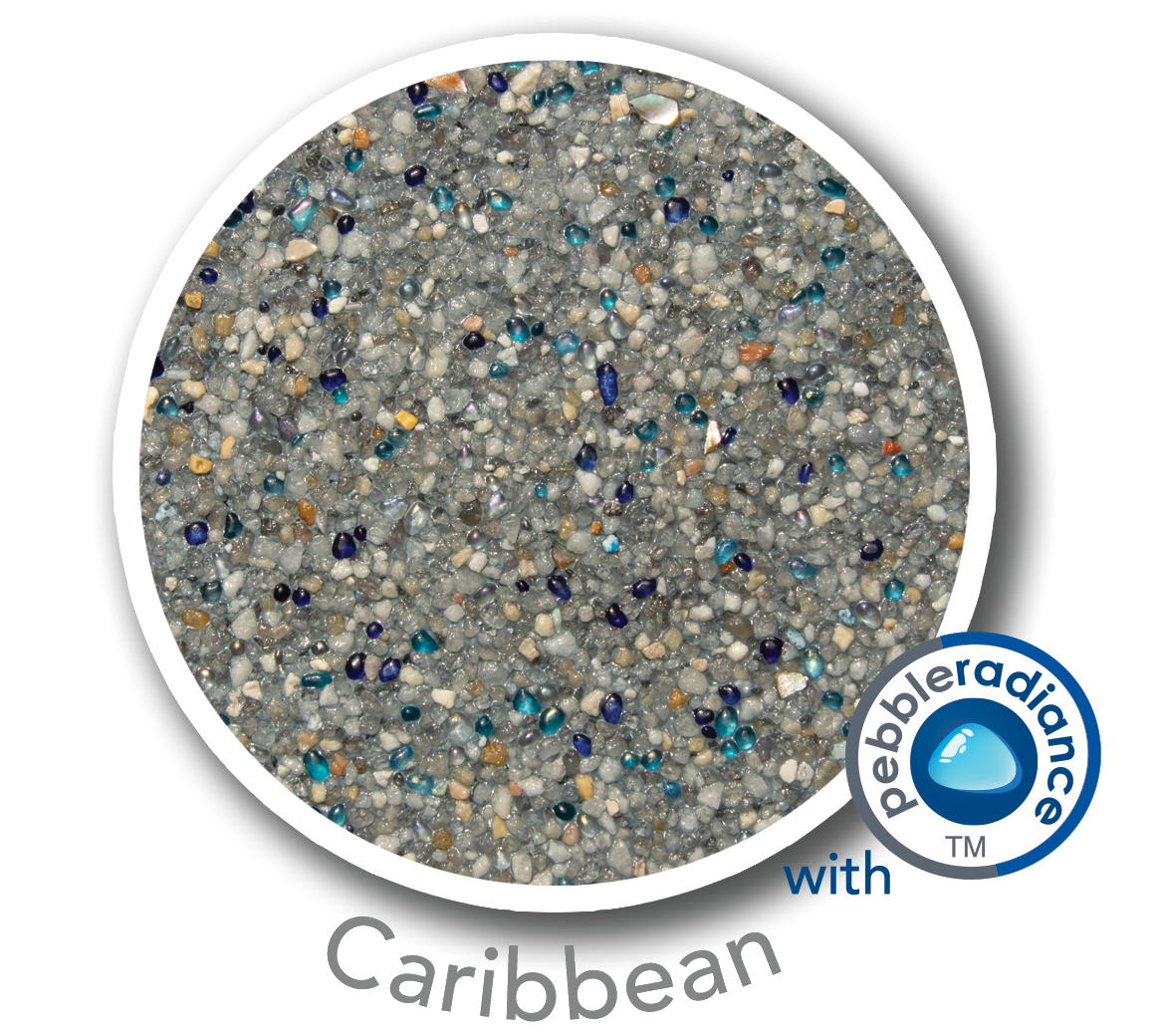 Round sample of Finest Finish Mini Pebble with Pebble Radiance Caribbean