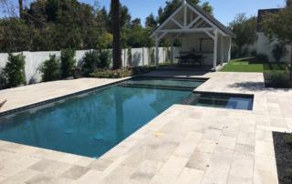 Desert Series Tahoe Pool with travertine and cabana