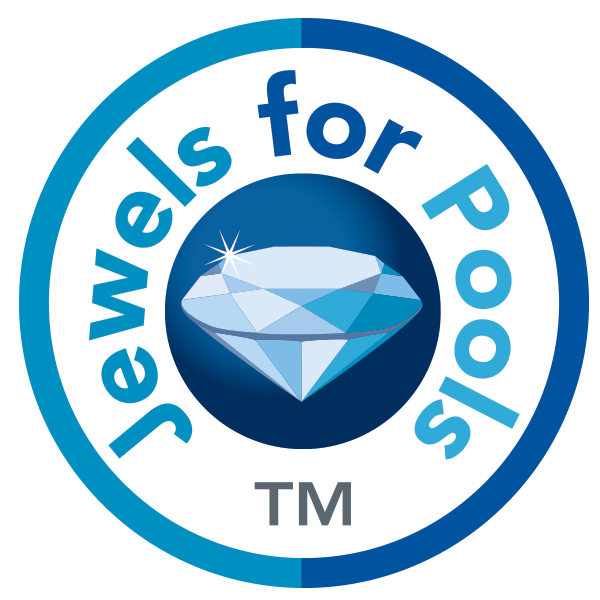 Jewels For Pools Glass logo with diamond center