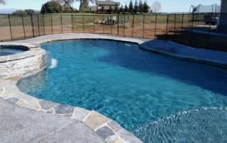 Finest Finish Micro Fusion Midnight Pool with stone coping and spa