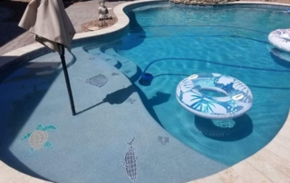 UMP pool with baja shelf and tile mosaics Laguna blue