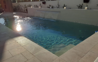Universal Mini Pebble White pool with waterfall