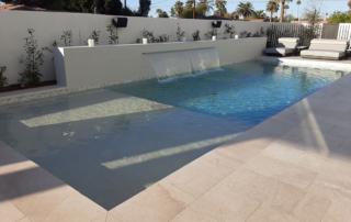Universal Mini Pebble White-pool-with waterfall and baja shelf
