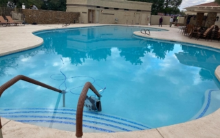 Commercial white curved pool entry