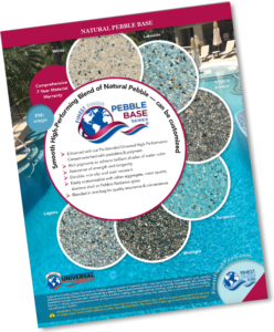 Pebble Base brochure image with samples and pool