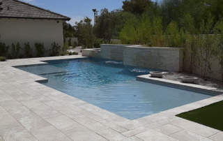 Universal Mini Pebble Laguna Blue Pool with Water Feature and planters
