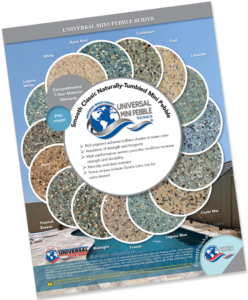 Image of Universal Mini Pebble Brochure with samples and pool background