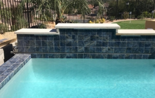Sparkle Quartz White swimming pool tile feature