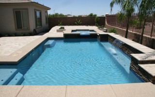 Finest Finssh pool with water feature Kona Blue