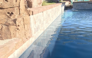 Universal Mini Pebble Agua Azul pool side wall and palapa