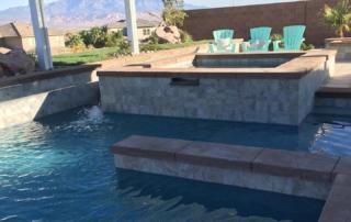 Universal Mini Pebble Agua Azul pool, spa and palapa